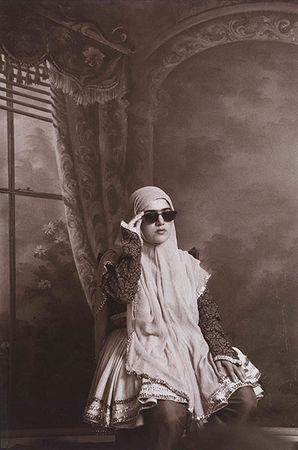Shadi Ghadirian. From the series Qajar, 1998 (Gelatin silver bromide print, 30 x 24 cm) <br>Photograph: Art Fund Collection of Middle Eastern Photography at the V&A and the British Museum