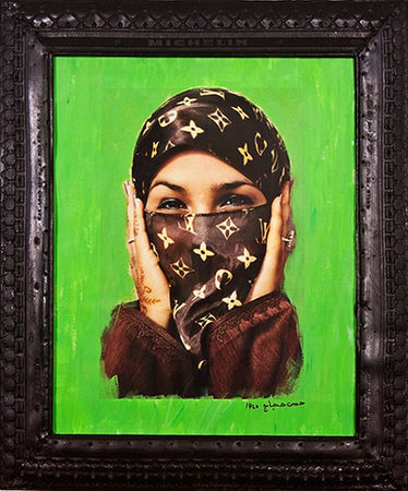 Hassan Hajjaj. Saida in Green, 2000 (Digital c-print and tyre frame) <br> Photograph: Art Fund Collection of Middle Eastern Photography at the V&A and the British Museum