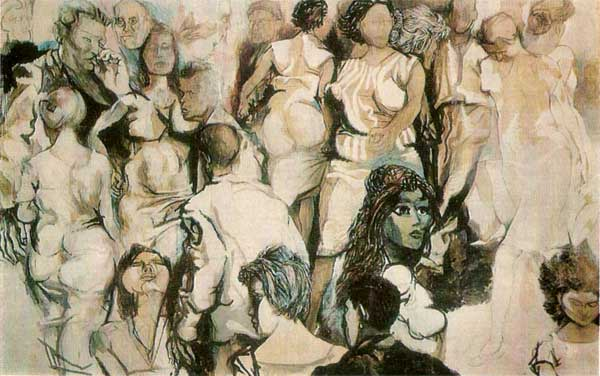 RENATO GUTTUSO. The Crowd<br /> Mixed technique. Paper mounted on canvas. 219x347 cm<br />  Signed and dated, bottom right: Guttuso. 60<br />  Acquisitions 1961. Bought from the artist. Inv. No. 10014