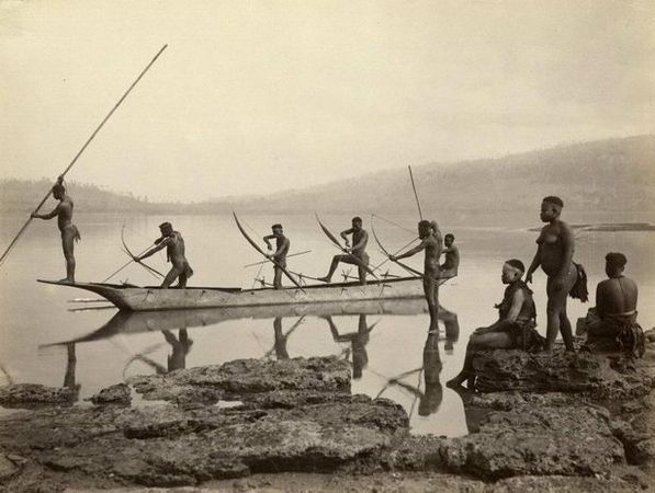 Bourne & Shepherd (?), Andamanen-Insulaner, um 1880, Albuminabzug
