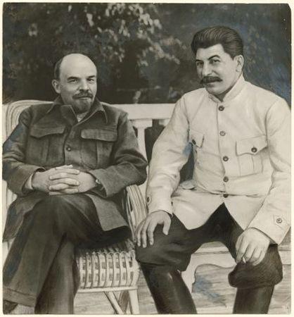 Lenin and Stalin in Gorki, 1922<br> Unidentified Russian artist