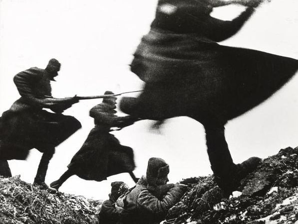 "Dmitri Baltermants, Attack—Eastern Front WWII, 1941, gelatin silver print, printed 1960, the MFAH, gift of Michael Poulos in honor of Mary Kay Poulos at ""One Great Night in November, 1997."" © Russian Photo Association, Razumberg Emil Anasovich"