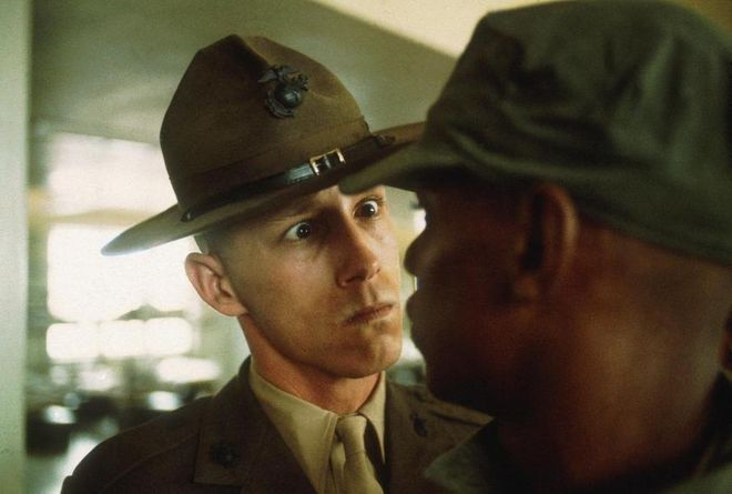 Thomas Hoepker, A US Marine drill sergeant delivers a severe reprimand to a recruit, Parris Island, South Carolina, from the series US Marine Corps boot camp, 1970, 1970, inkjet print, Thomas Hoepker / Magnum Photos. © Thomas Hoepker / Magnum Photos