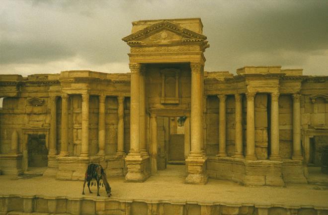 Le chameau à Palmyre, 2007, tirage Fresson sur papier, 55 x 83 cm, Courtesy Galerie Françoise Besson © Dolorés Marat