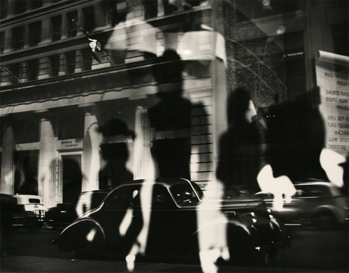 Lisette Model. Refelctions, Rockefeller Center, New York. Year: c. 1945, printed c. 1970's