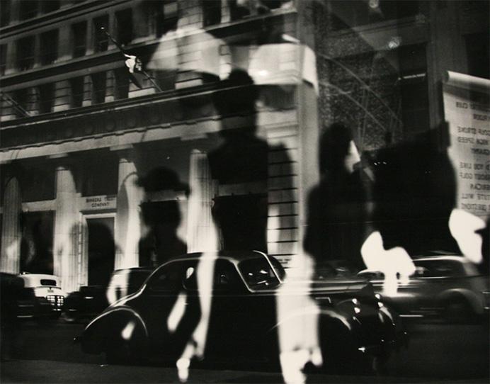 Lisette Model. Refelctions, Rockefeller Center, New York. Year: c. 1945, printed c. 1970's
