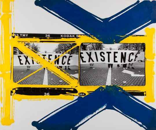 """WILLIAM KLEIN<br> Painted Contact, Existence, Paris, 2002<br> Unique silver gelatin print with enamel paint, 20 x 24""""<br> Signed in ink verso"""