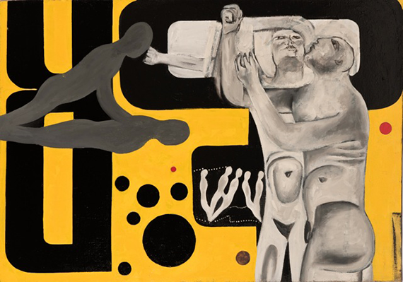WILLIAM KLEIN<br> *Gymnasts (yellow), 1949<br> Paint on canvas<br> Art size: 52.36 x 37.6 inches / 133 x 95.5 cm<br> Frame size: 53.54 x 38.58 x 2.24 inches / 136 x 98 x 5.7 cm<br> WK 11810