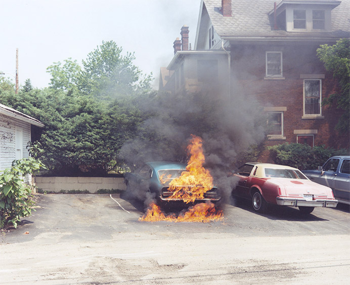 Joachim Brohm. Car on fire, Ohio 1983