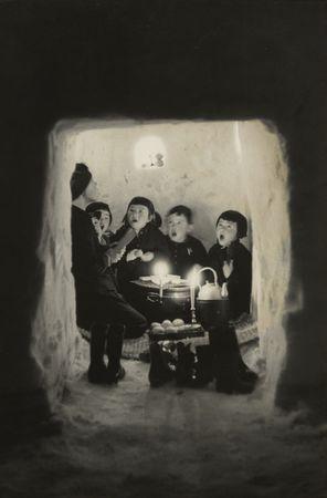 Hiroshi Hamaya. Children Singing in a Snow Cave, Niigata Prefecture, 1956