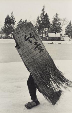 Hiroshi Hamaya. Man in a Traditional Minobashi Raincoat, Niigata Prefecture, 1956