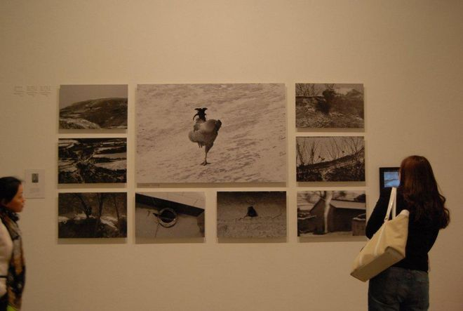 Visitors are looking at the work of Ma Qinqin. Ma Qinqin, female, a 13-year-old villager.