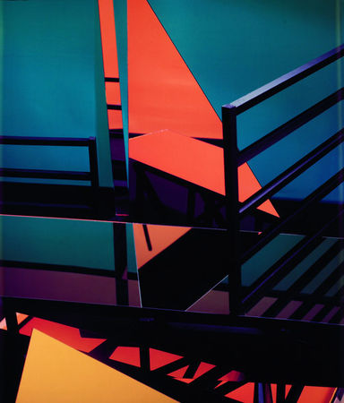 Construct PC IX, Large-format Polaroid Polacolor print. (Barbara Kasten/Courtesy Gallery Luisotti)