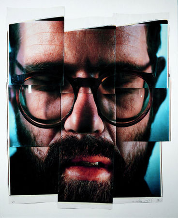 Self-Portrait/Composite/Nine Parts, Nine dye diffusion transfer prints. (Chuck Close/Courtesy Pace Gallery)
