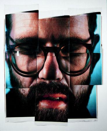 Self-Portrait/Composite/Nine Parts, Nine dye diffusion transfer prints. (Chuck Close/Courtesy Pace Gallery)