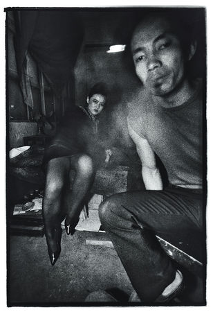 Zhang Haier, Wang Wei with a Man Smoking, 1989, Gelatin silver print, 61 x 50.8 cm, Edition of 10