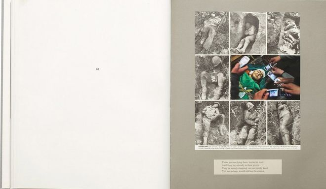 """Plate 62 from War Primer 2. 2011. Artist's book, 11 13/16 x 9 13/16 x 3/4"""" (30 x 25 x 1.9 cm). Collection Buse Yildirim, Istanbul. © 2013 Adam Broomberg and Oliver Chanarin"""