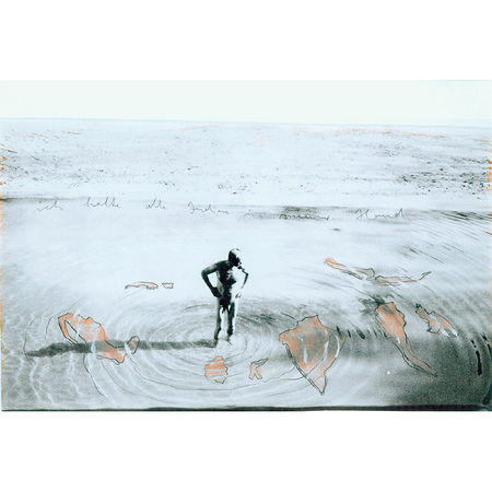 Anselm Kiefer: Ich halte alle Indien in meiner Hand (I hold all Indias in my hand). 1995 Gouache and pencil on photograph 34,3 x 59 cm 13 1/2 x 23 1/4 inches. Artwork Of Galerie Thomas