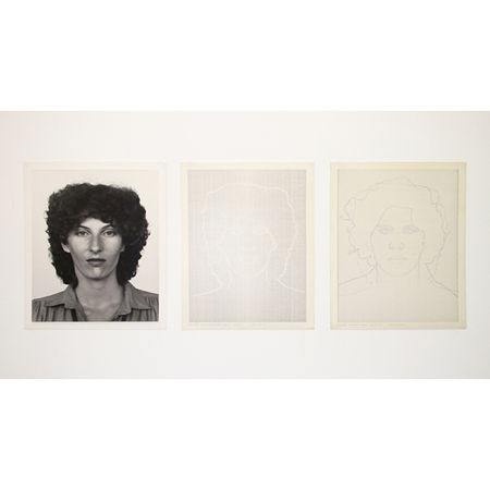 Charles Gaines Faces: Women, Face #2, Janay Montgomery, 1978 Ink on paper, photography. Photograph: 19 7/8 x 15 7/8 inches / 50.5 x 40.3 cm Two drawings, each: 55.9 x 45.7 cm  3 frames, each: 8.9 x 49.5 cm. Artwork Of Paula Cooper Gallery