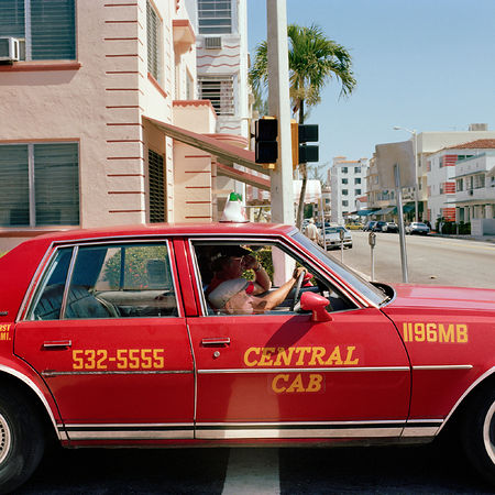 Gay Block: Untitled (Taxi), South Beach, Miami, 1982-85. Archival inkjet print, printed later 21 3/4 x 21 3/4 inches. Artwork Of Howard Greenberg Gallery