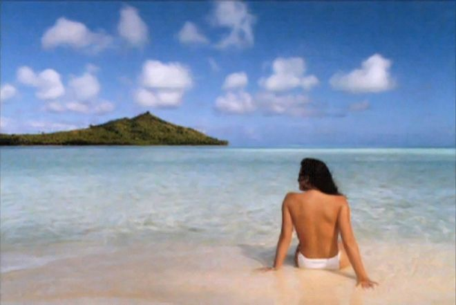 """Jennifer in Paradise"", re-distributed digital image (first image ever Photoshopped), encrypted message, Constant Dullaart 2013"