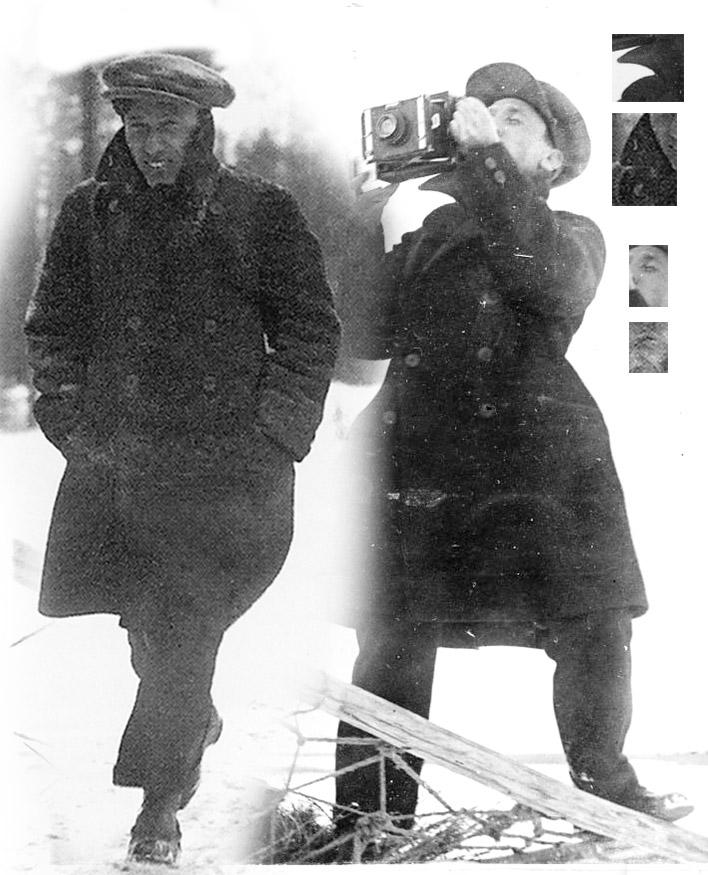 Слева фото И. Ильфа поэт Б. Пастернак, справа фоторепортер А. Шайхет на съемке
