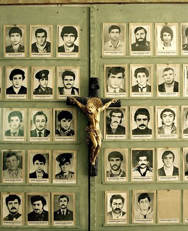 Photographs of missing soldiers in the Museum for the Missing Fighters of the Nagorno-Karabakh war. © Meinrad Schade