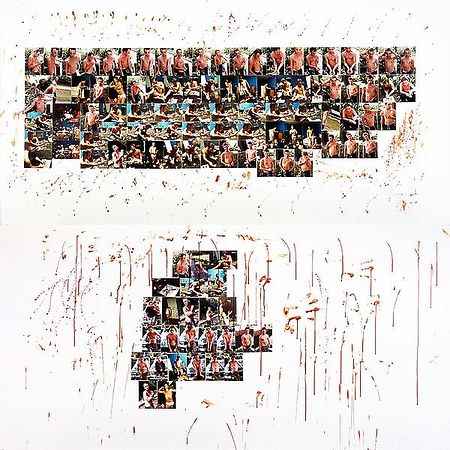 © Larry Clark. Knoxville II (homage to Brad Renfro), diptych, color photographs and blood on museum board, 2012