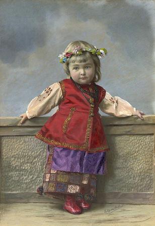 Елена Мрозовская. Портрет девочки в малороссийском костюме. Санкт-Петербург, 1900-е