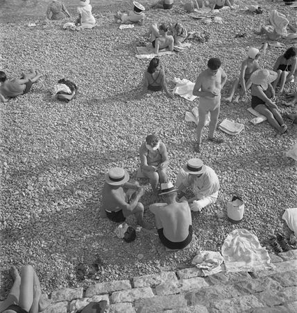 Beach dwellers in the afternoon, Nice, France, ca. 1939