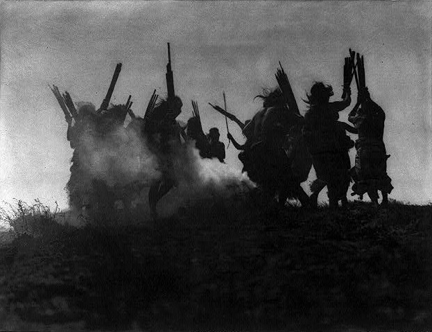 Edward Curtis (1868 – 1952), Dancing to restore an eclipsed moon, c.1914, November 13, photogravure; Library of Congress, Prints & Photographs Division, Edward S. Curtis Collection, LC-USZ62-73627