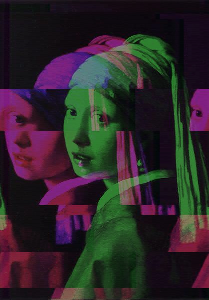 Глитч-изображение «Девушки с жемчужной серёжкой» Яна Вермеера.