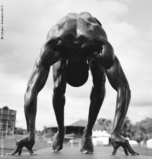 Shawn Crawford #1, sprinter, photographed at the USA Nationals in Eugene, OR, June 2001.Photograph by Howard Schatz from SCHATZ IMAGES_ 25 YEARS ©Howard Schatz and Beverly Ornstein 2015