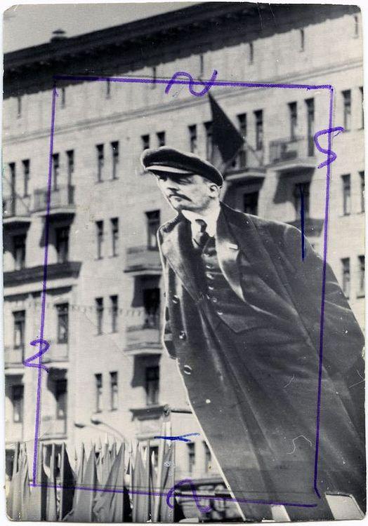 ©Дашевский Михаил Аронович. «И Ленин всегда впереди... 1970 (контрольный отпечаток)»