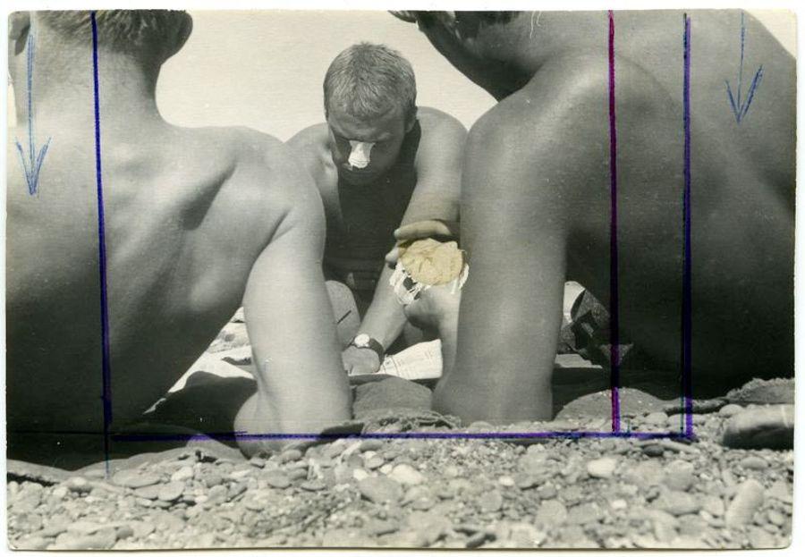 ©Дашевский Михаил Аронович. «Пляжные игры. Судак. 1972 (контрольный отпечаток)»