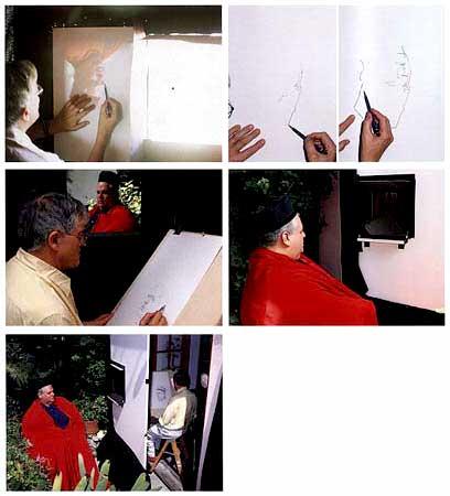При помощи вогнутого зеркала Хокни реконструирует один из методов, применявшихся в живописи. Хокни «Тайное Знание», с.76