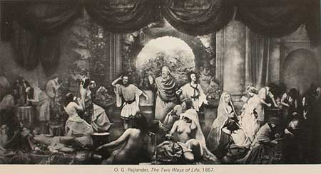 Оскар Рейландер, Две Дороги жизни, 1857. Фртография созданаиз белее чем 30 разных негативов.