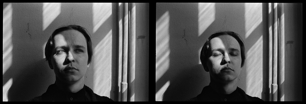 Андрей Безукладников. Близнецы. Черная линия – Время. Автопортрет. Москва. 1988