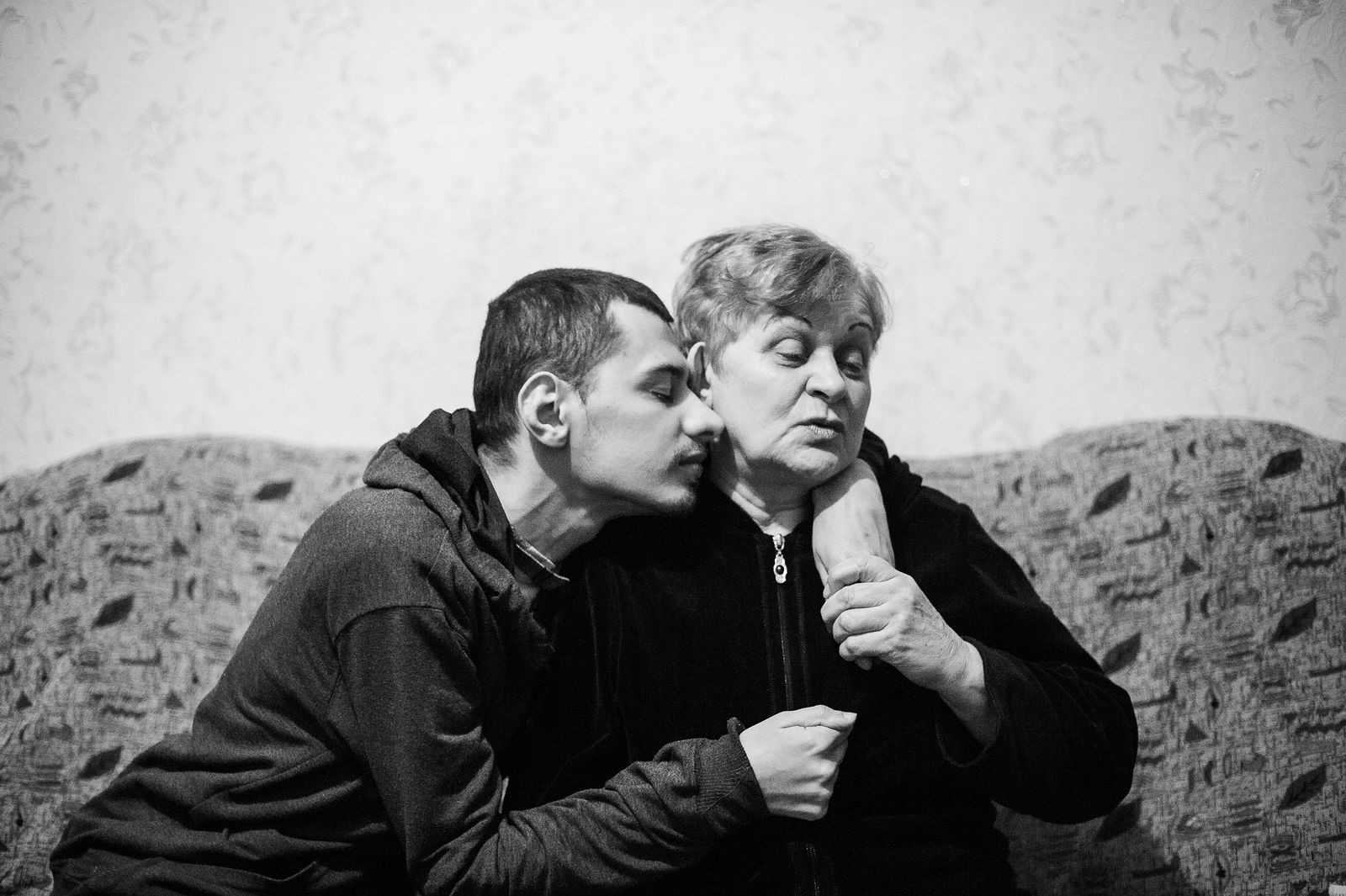 """Arik Shraga. """"Joint"""" Families: The Stories of Love. Transnistria, Rybnitsa. Stepan and his mother"""