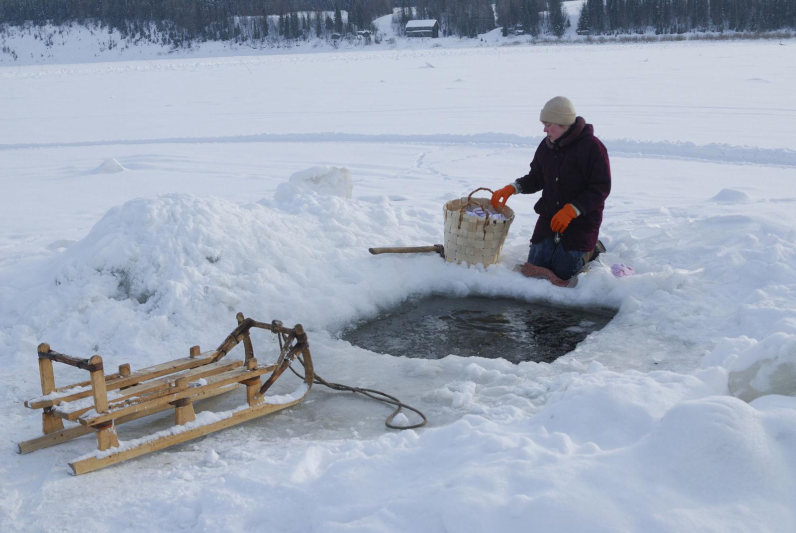 Arik Shraga. Neglected in the village. Rinsing ice-hole